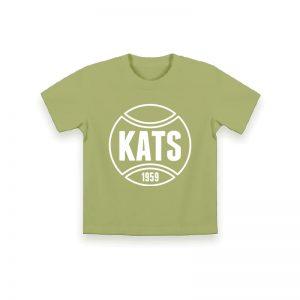 vaaleanvihreä kajaanin tennisseuran logolla varustettu lasten t-paita